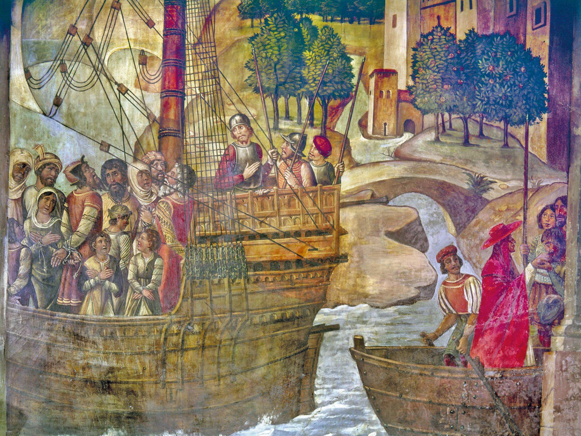 Maleri av en skip og en båt med fanger