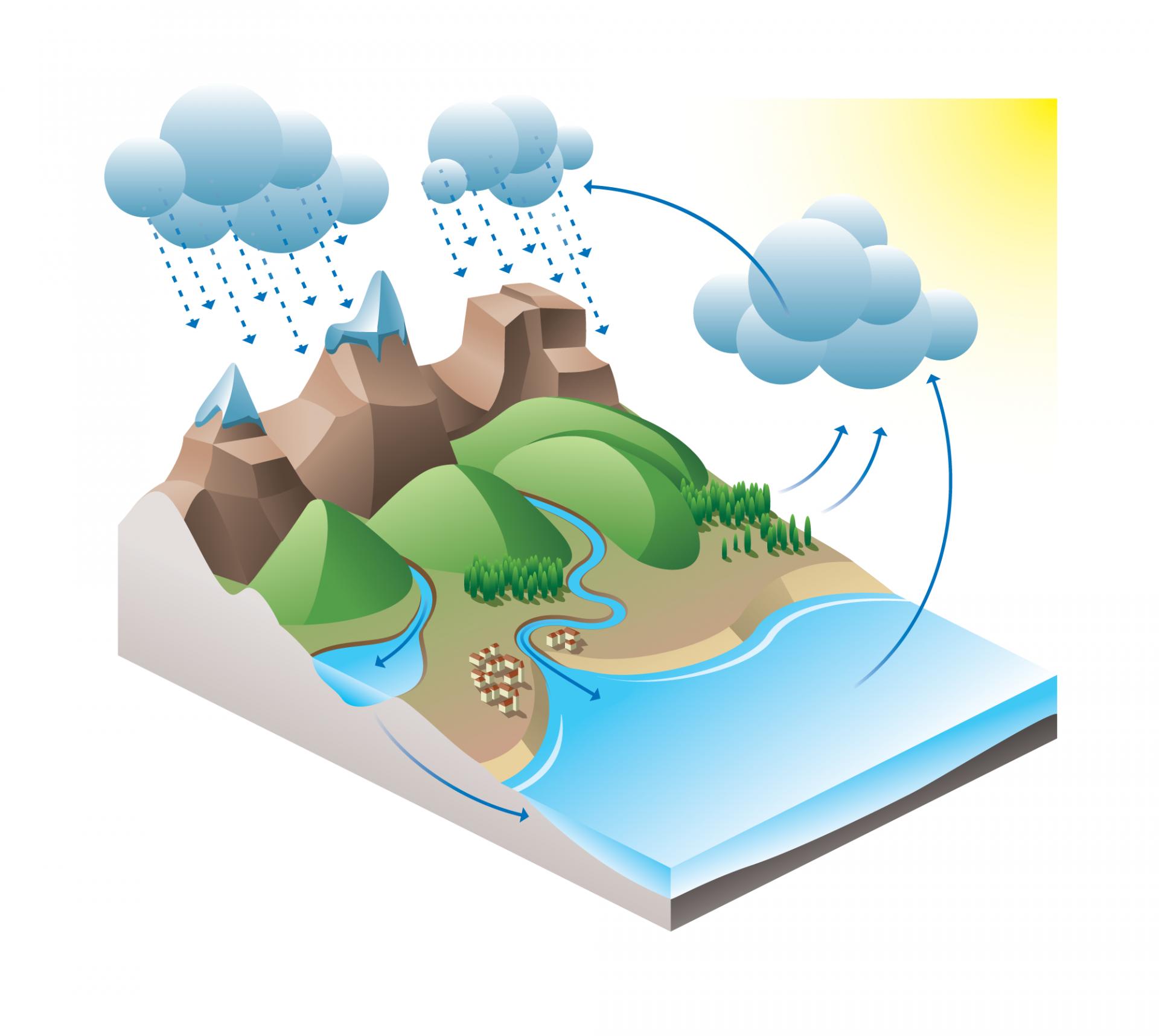 Tegning av hvordan vannets kretsløp er