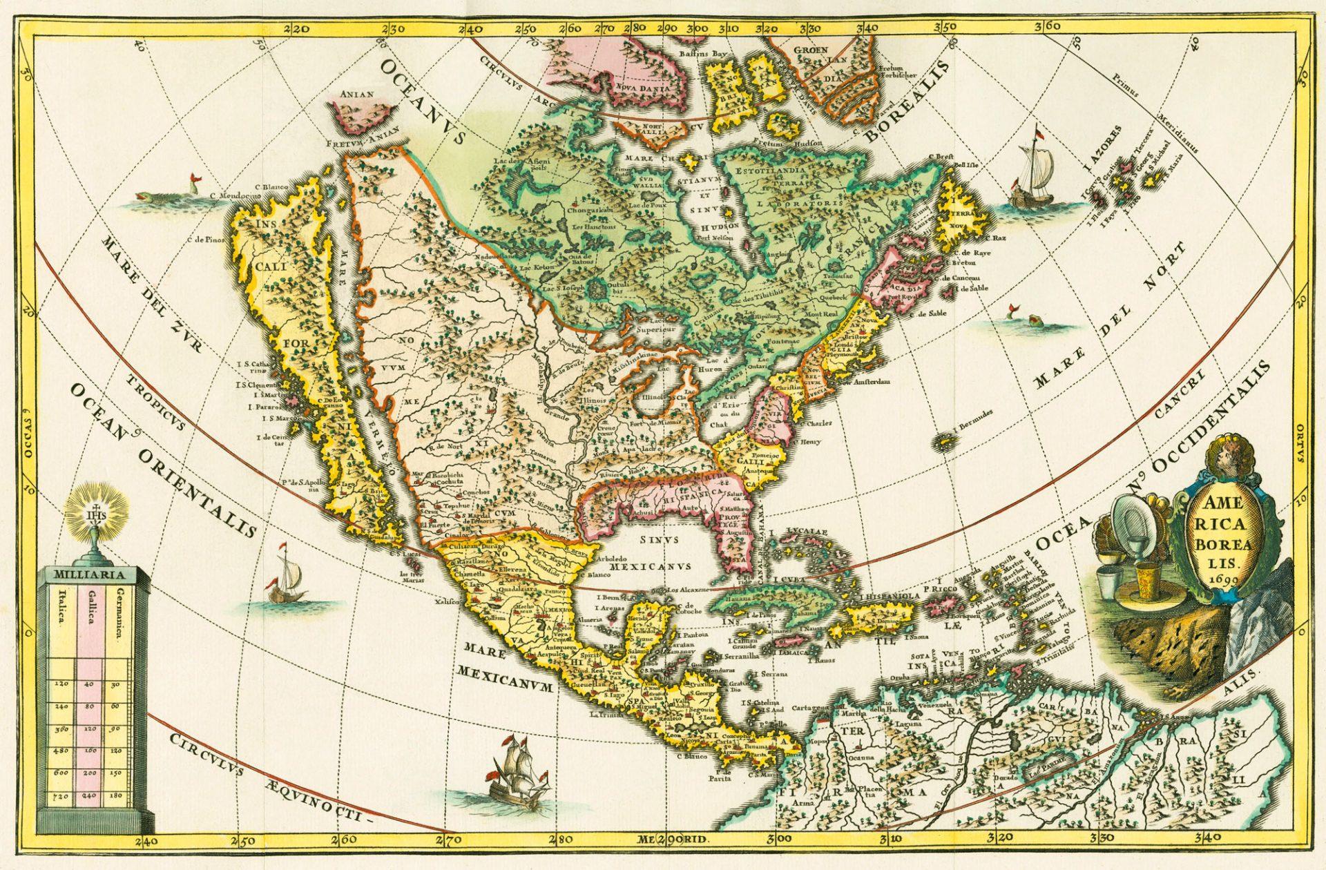 Gammelt kart av Amerika