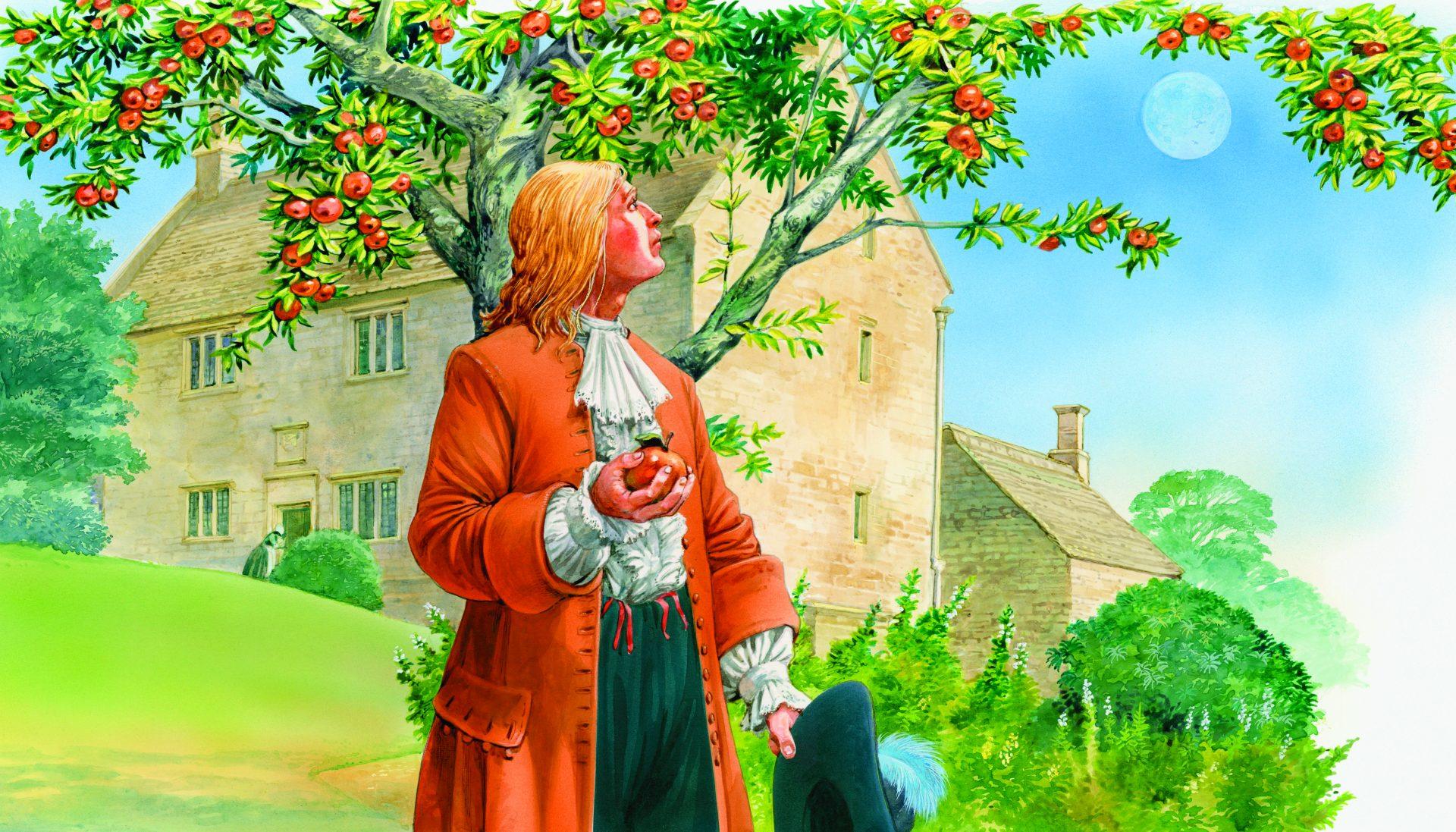 Isaac Newton holder et rødt eple og ser opp på treet