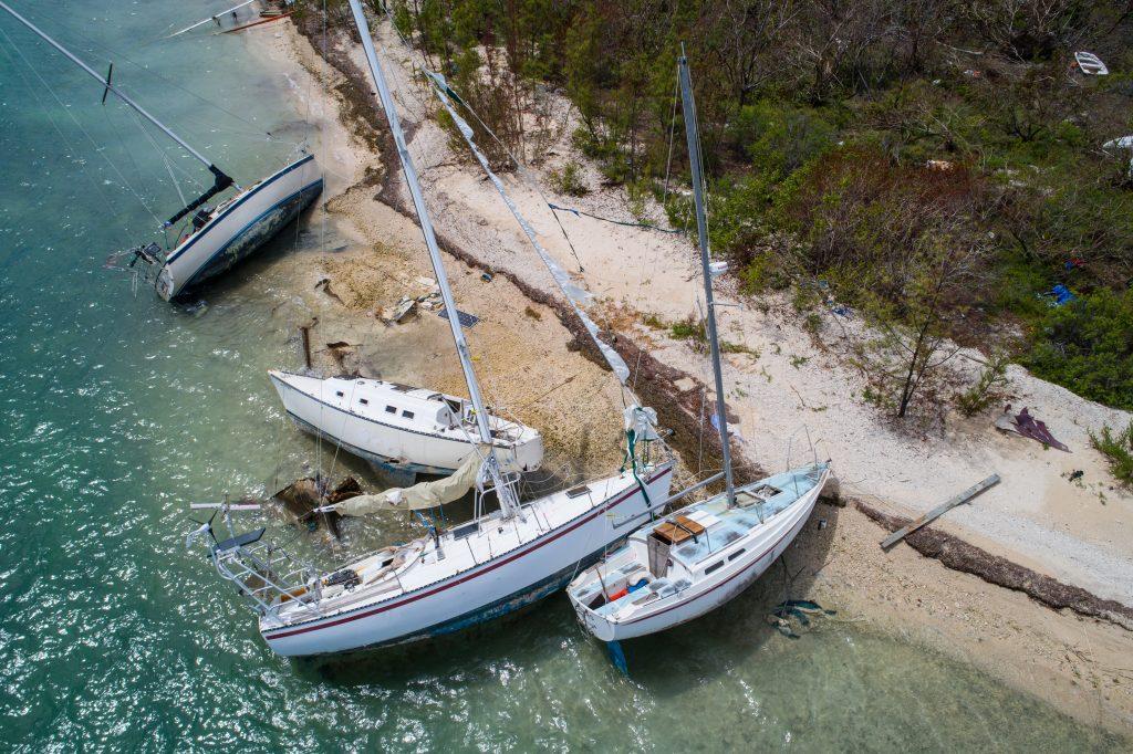 Seilbåter strandet på grunn av Hurricane Irma Key West