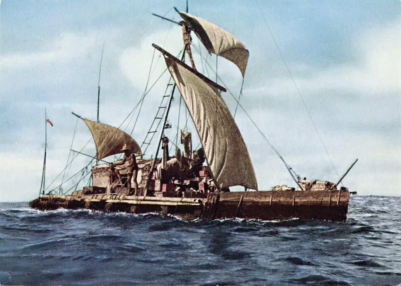 I 1947 seilte den norske eventyreren Thor Heyerdahl 8000 kilometer over Stillehavet i en håndbygget flåte kalt Kon-Tiki