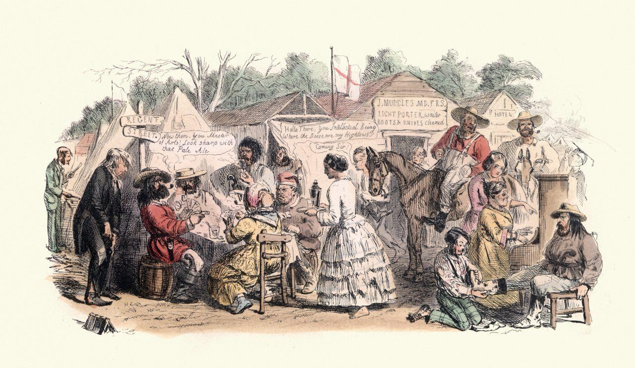 Karikatur av britisk bosetting i Australia i 1850 tegnet av illustratøren John Leech