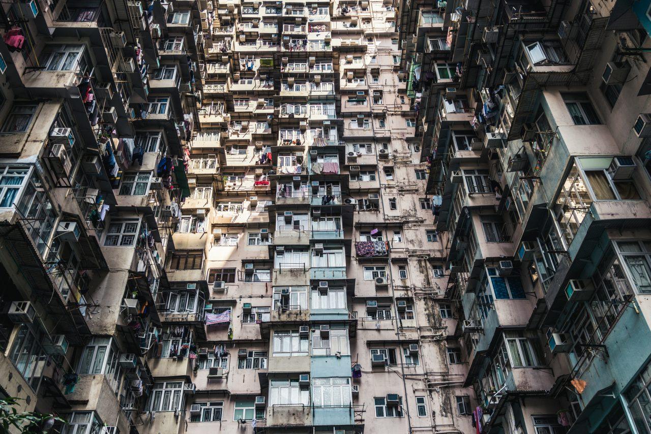 Eksempel på hvor tett innbyggere bor i Hong Kong med følge av overbefolkning