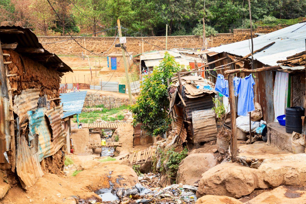 Slummen i Nairobi, Kenya.