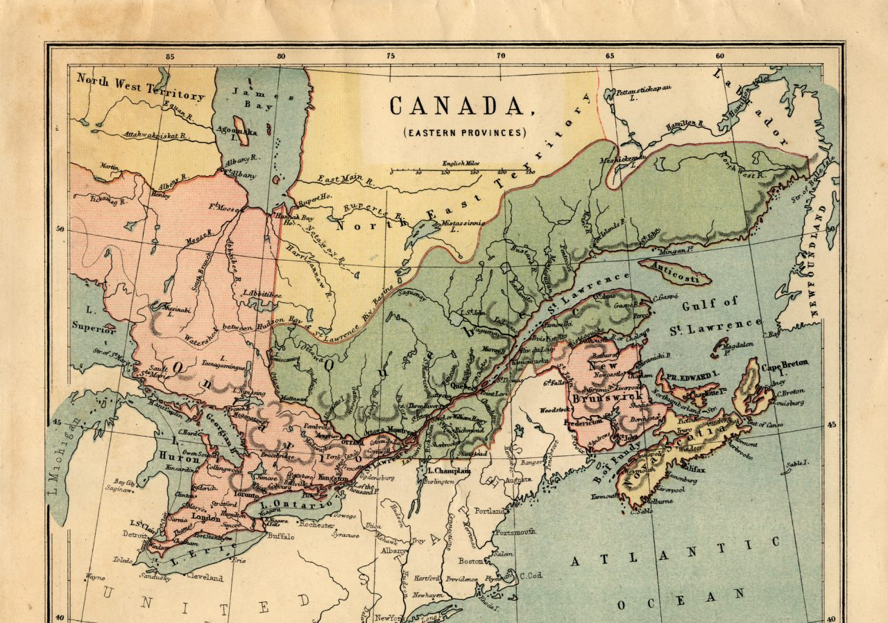Mid-Victorian map of Canadian Eastern Provinces
