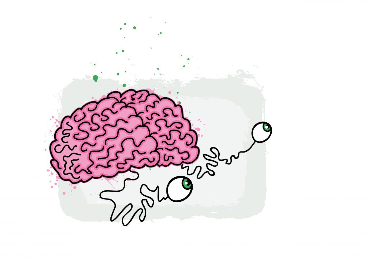 Illustrasjon av en hjerne med øyne koblet til