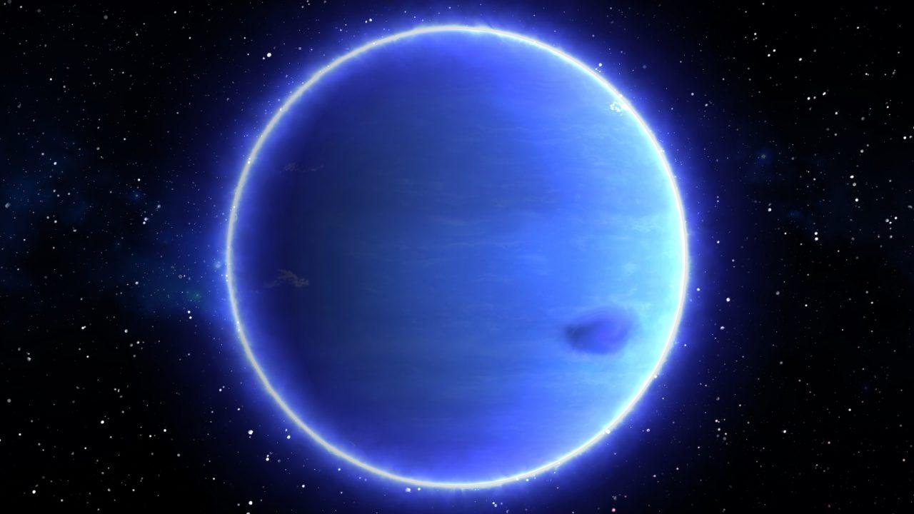 Neptun med stjerner i bakgrunnen
