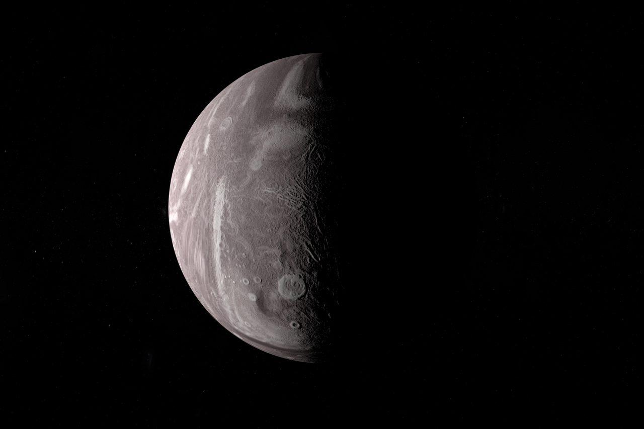Miranda, Uranus moon, in the outer space. 3d render