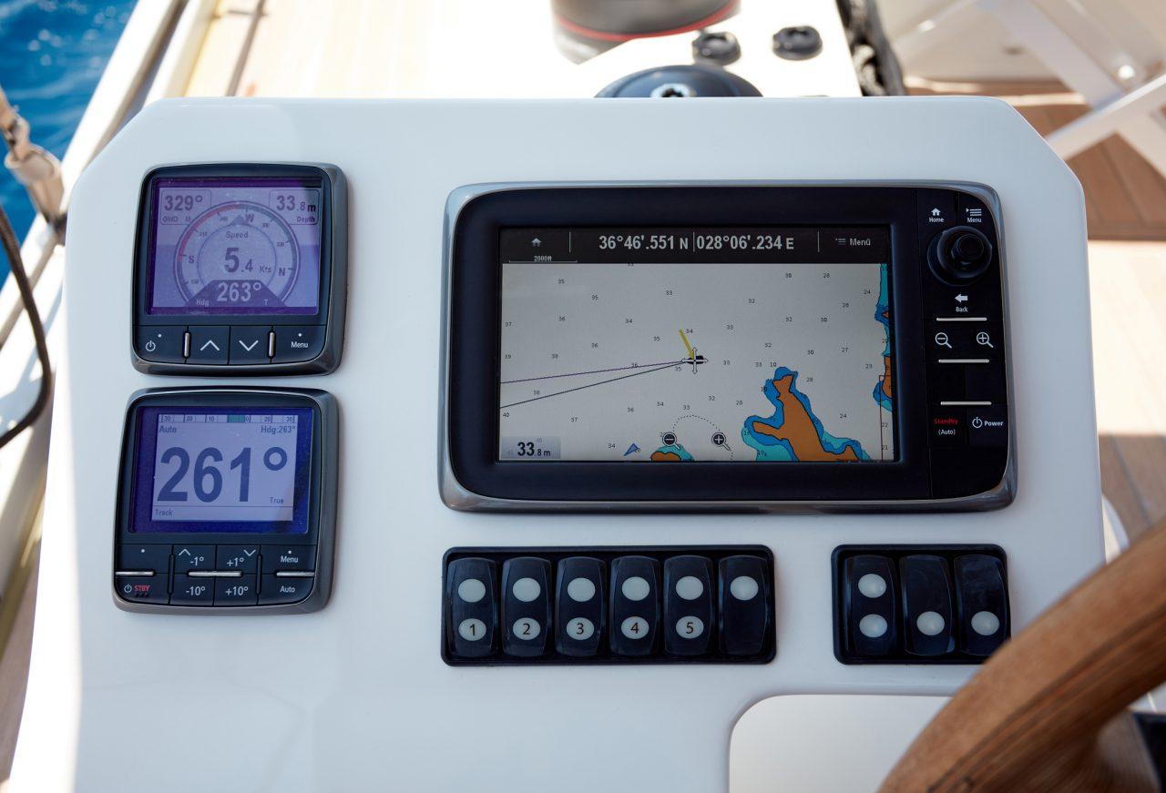 Kontrollpanel på en seilbåt