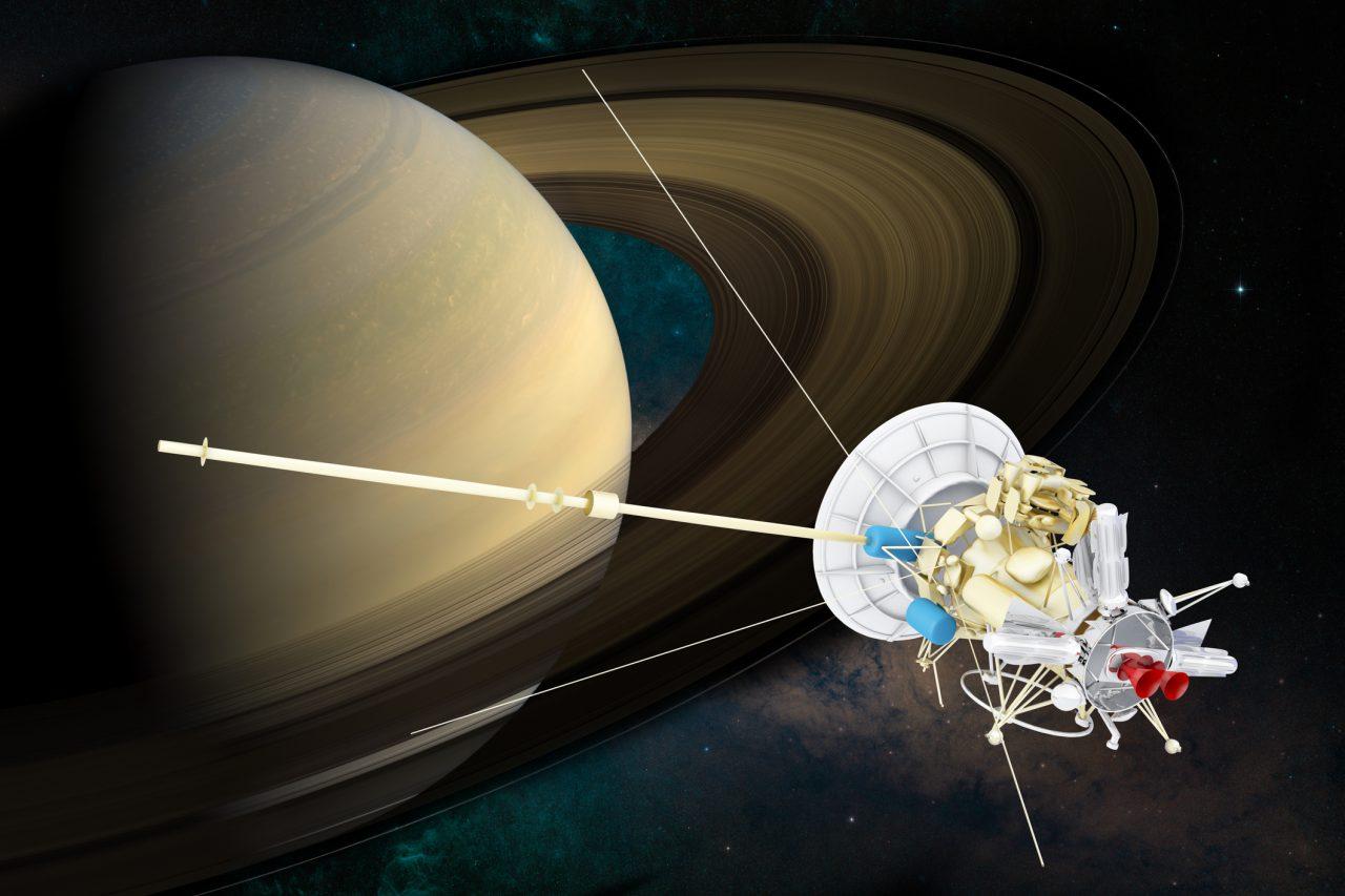 Illustrasjon av romfartøy ved Saturn