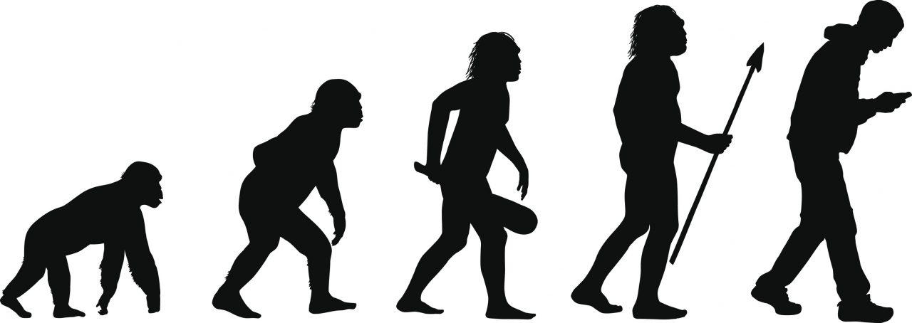 Menneskets evolusjon med et menneske med smarttelefon