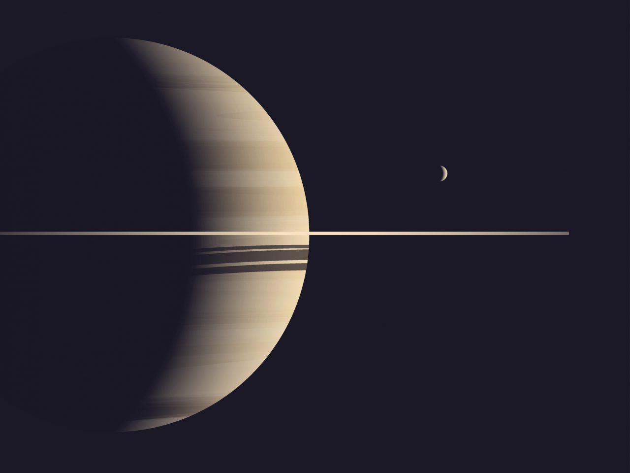 Illustrasjon av Saturn og månen