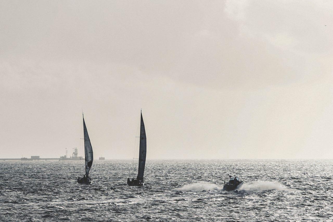 To seilbåter og en daycruiser
