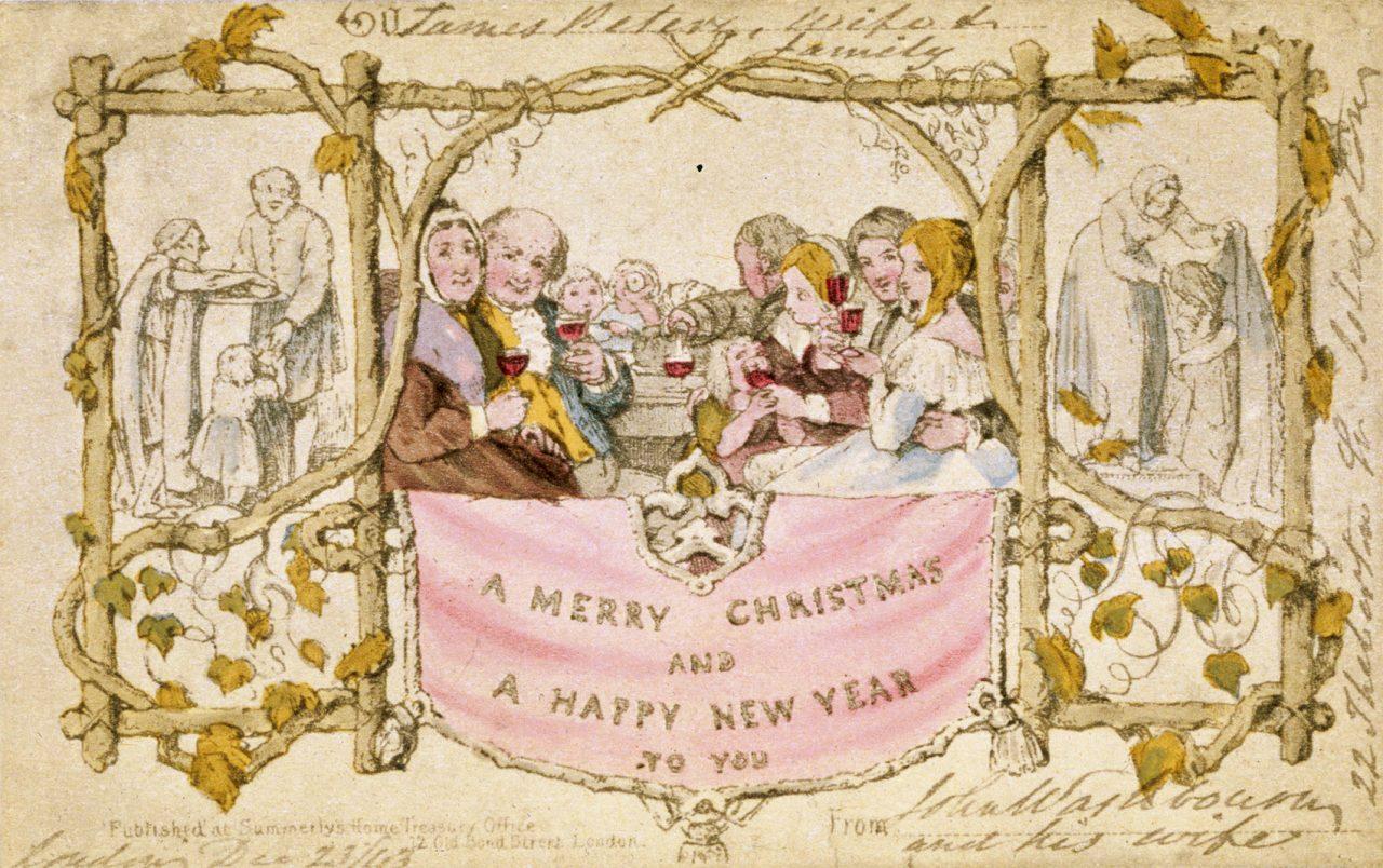 Første julekortet fra 1843, illustrasjon av John Calcott Horsley