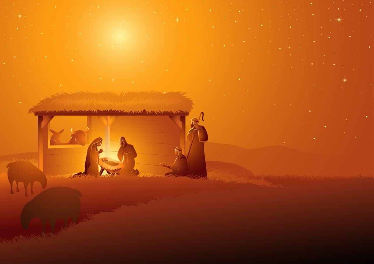 Illustrasjon av Den hellige familien i stall