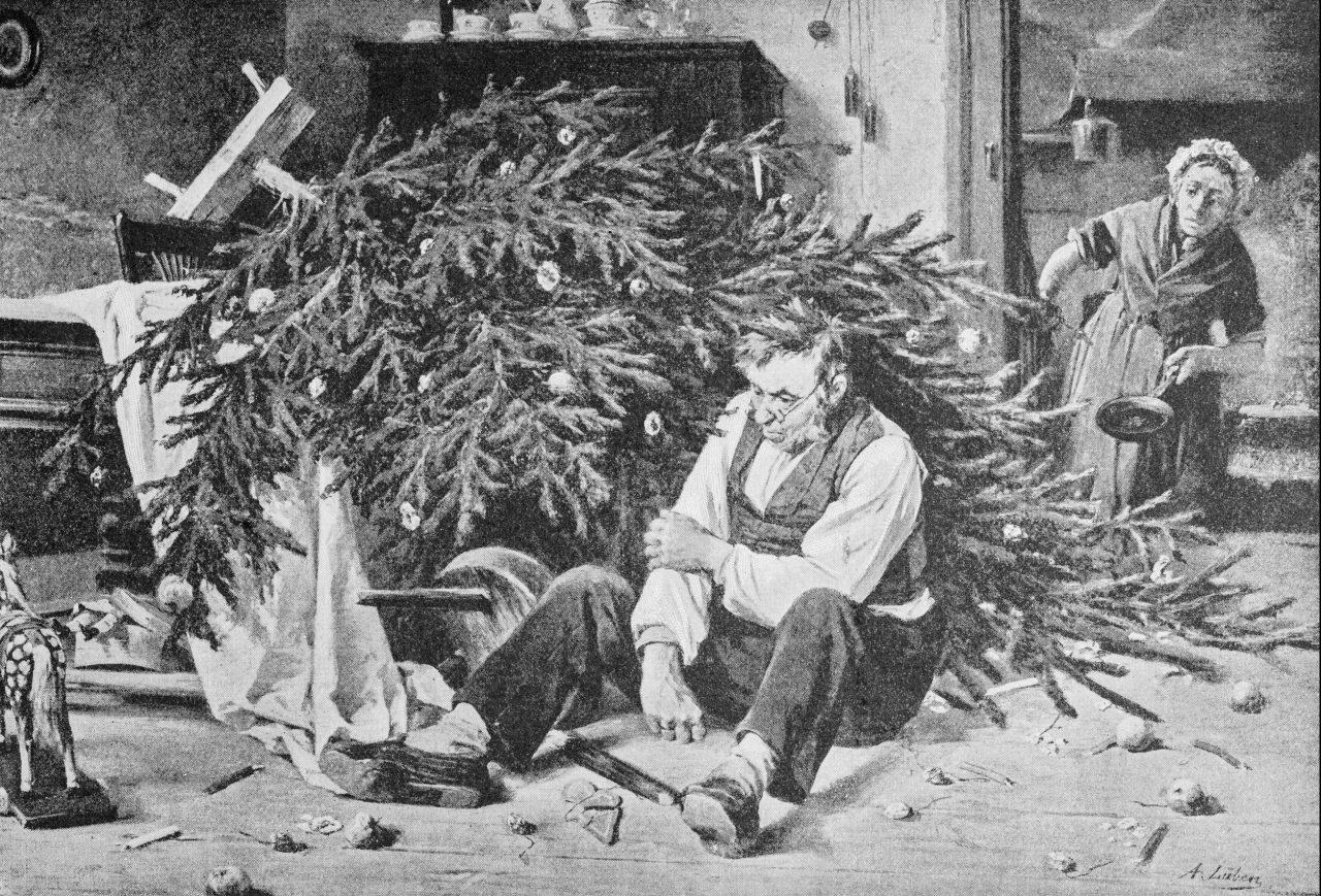 Illustrasjon av et juletre som har falt