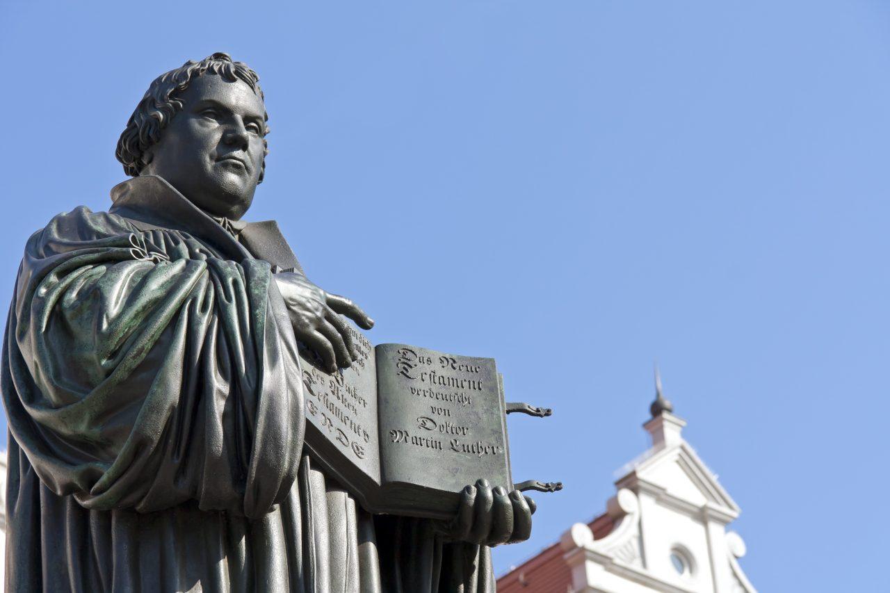 Statue av Martin Luther i Wittenberg, Tyskland
