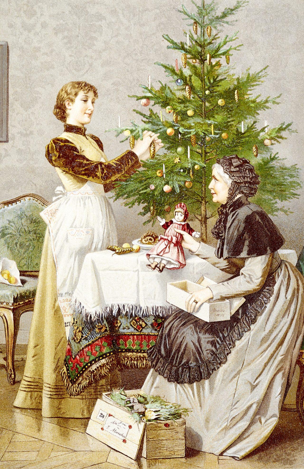 Illustrasjon av mor og datter som pynter juletre