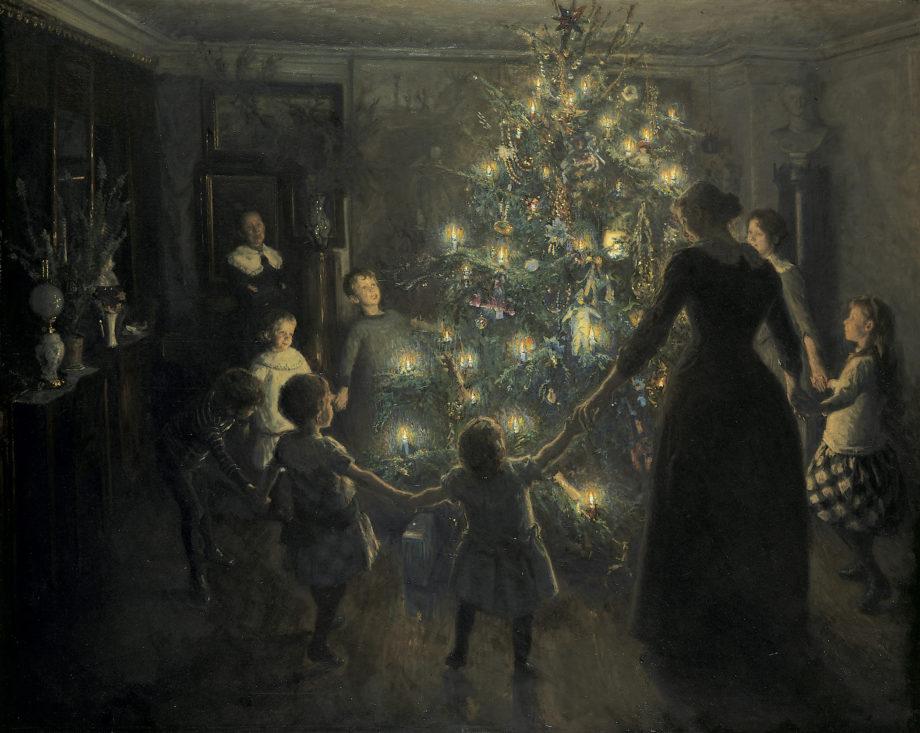 Illustrasjon av en familie som går rundt et juletre av Viggo Johansen