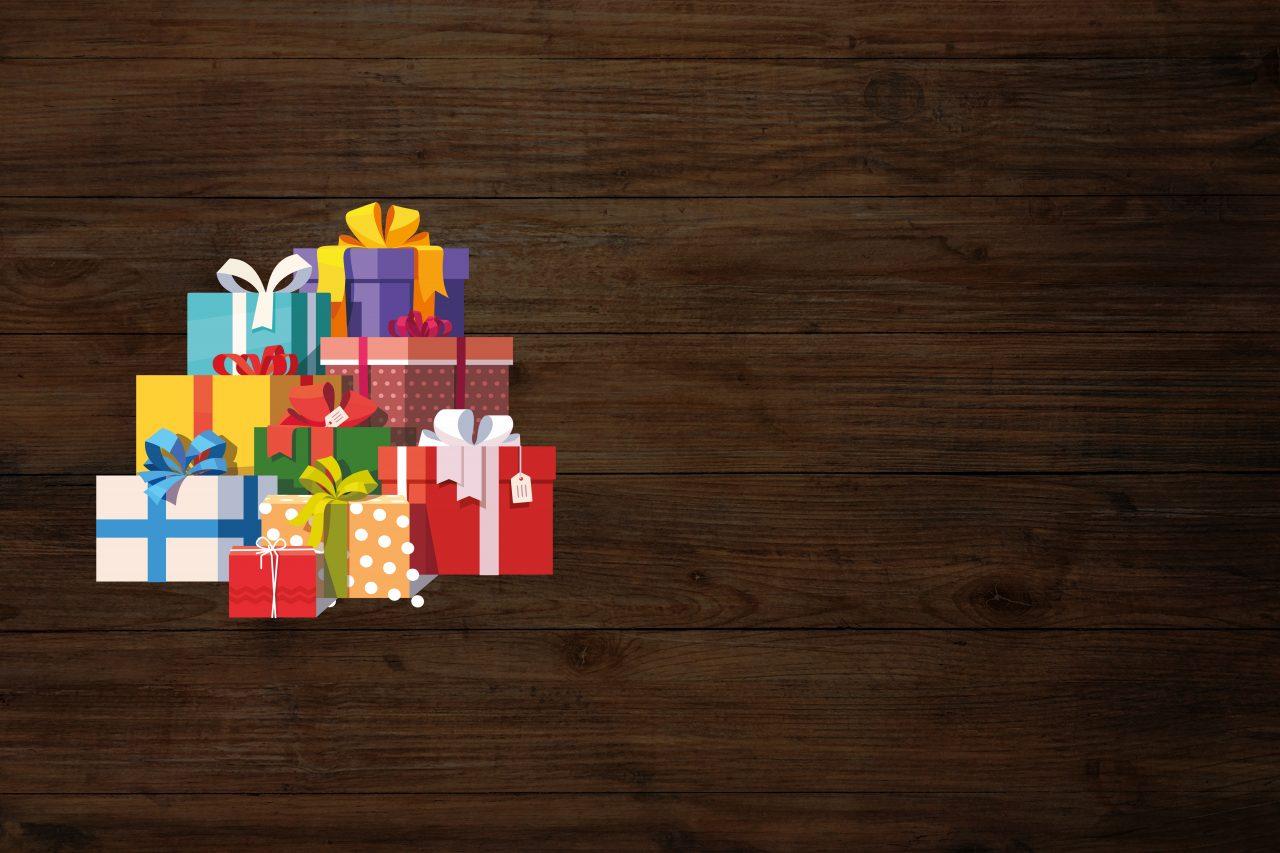 Illustrasjon av julegaver på en tre bakgrunn
