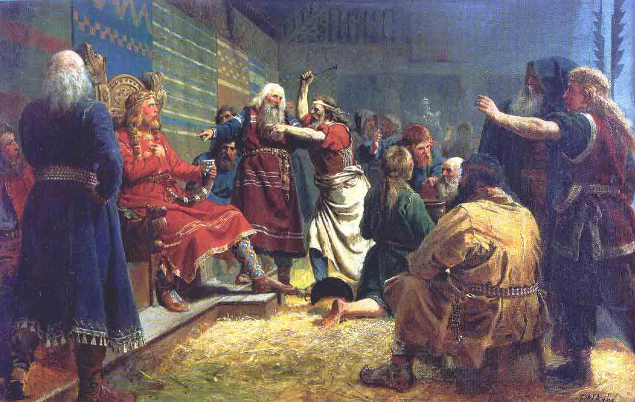 Håkon den Gode i juleblótet på Mære, malt av Peter-Nicolai Arbo