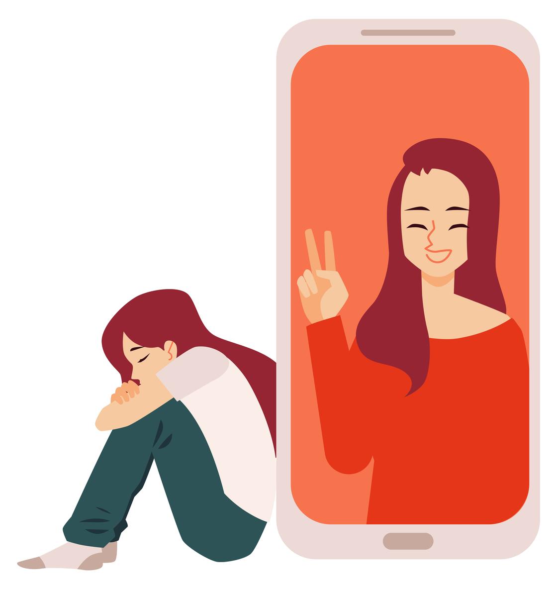 Trist selfie-jente