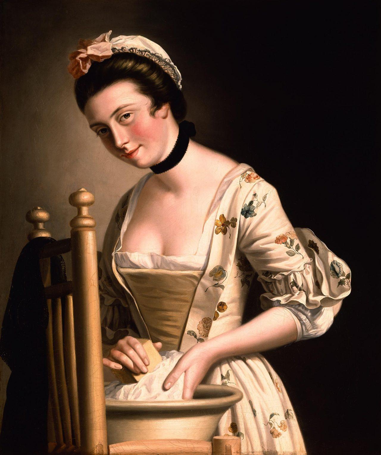 Maleri av en jente som gjør klesvask, av Henry Robert Morland
