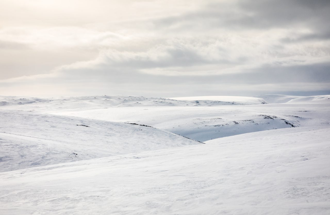 Landskaps bilde fra vinter i Nord-Norge