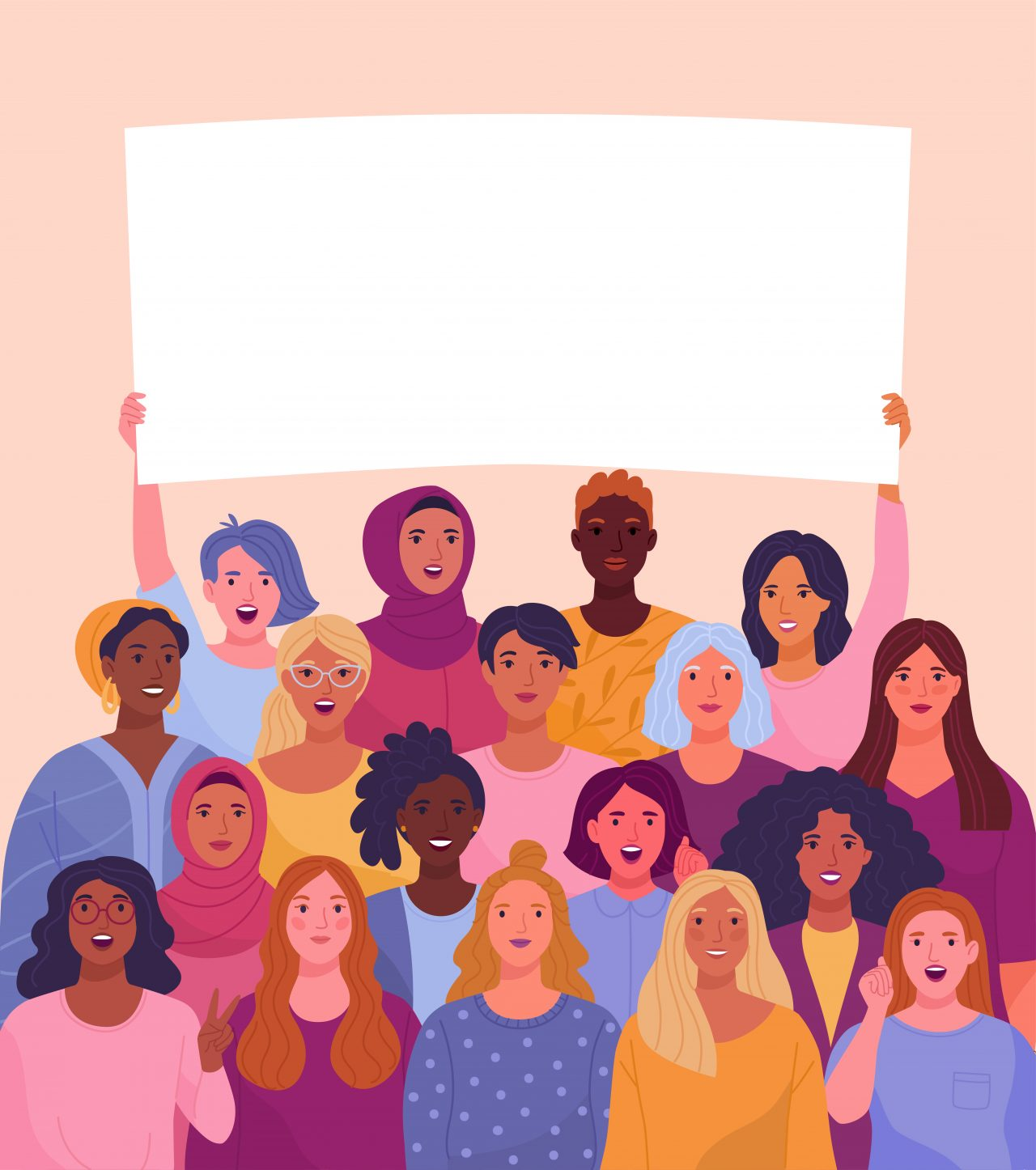 Illustrasjon av kvinner som holder sammen