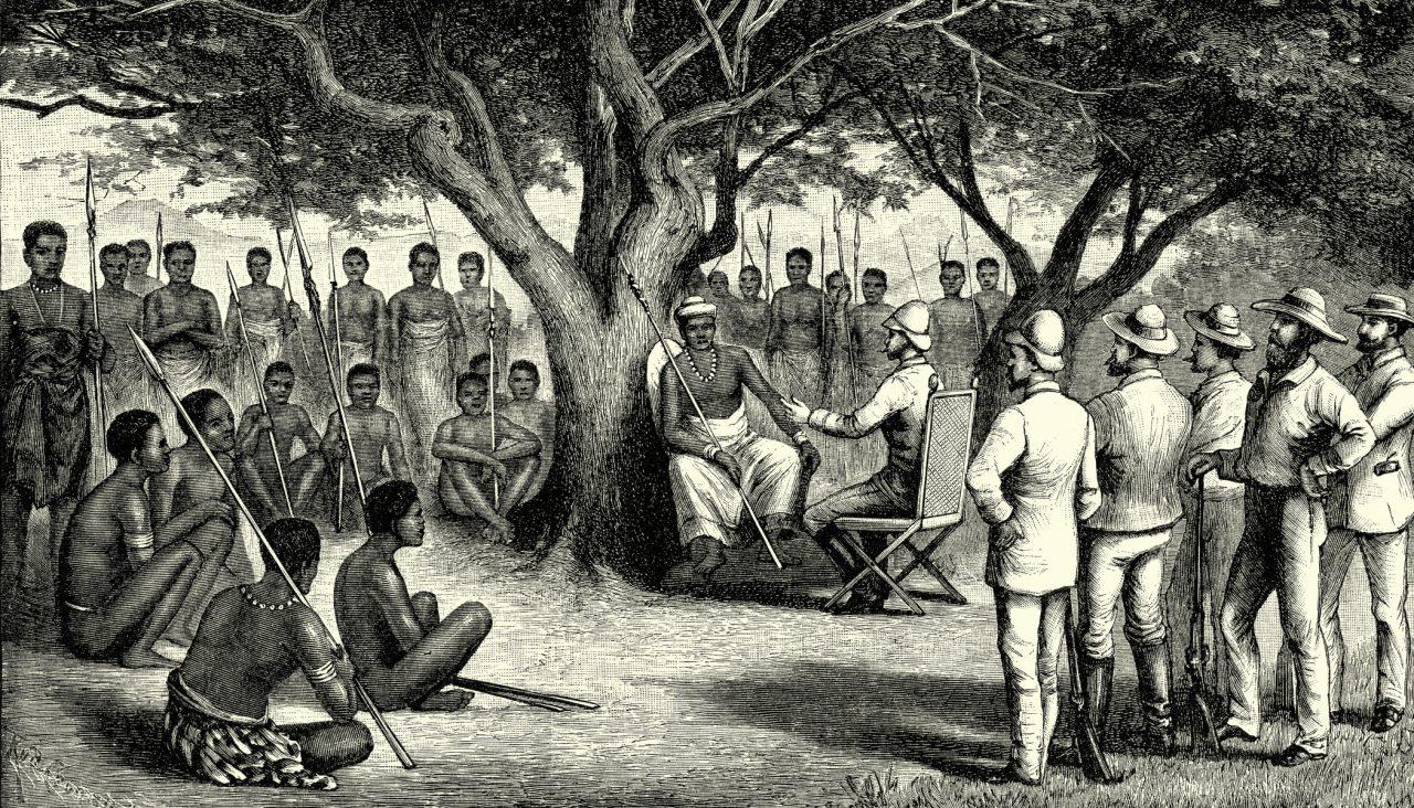 Illustrasjon fra 1800-tallet av et møte i Kongo mellom Europere og Afrikansk urfolk