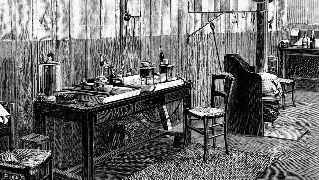 Illustrasjon av laboratorium til Marie og Pierre Curie