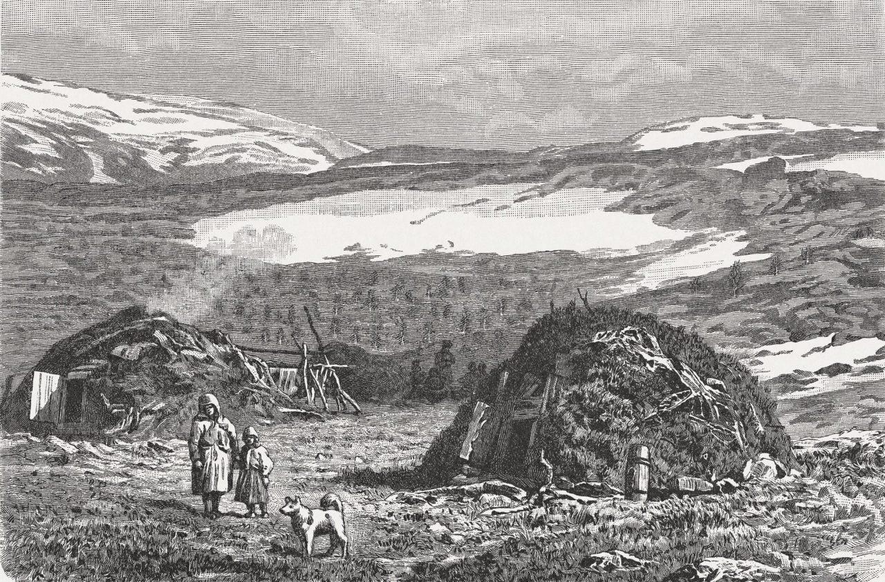 Inngravert illustrasjon av samer i Nord-Norge i 1897