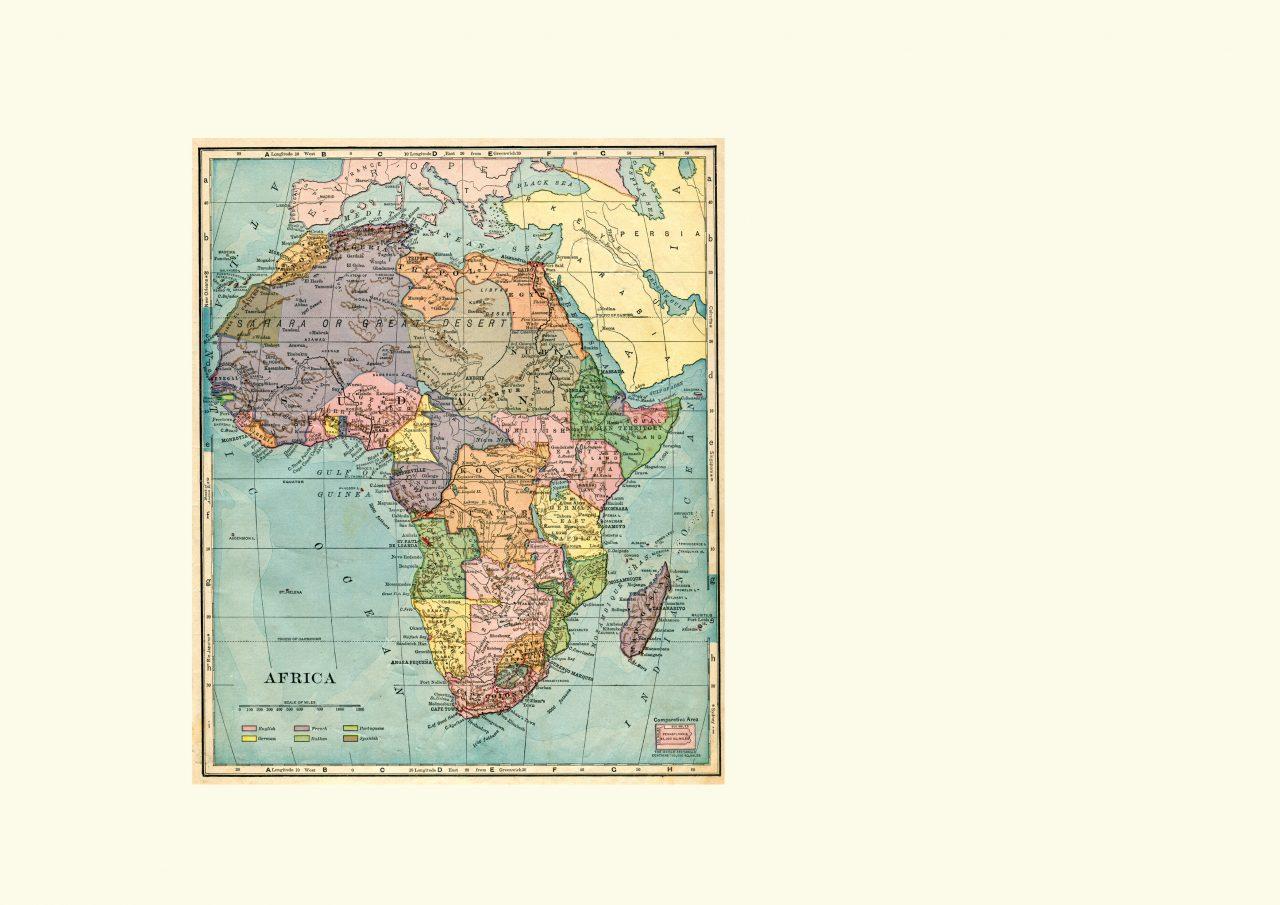 Kart over Afrika som viser kolonier fra 1896
