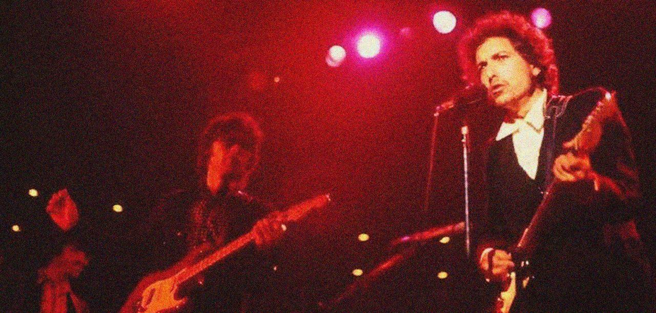 Bob Dylan på scenen i 1974