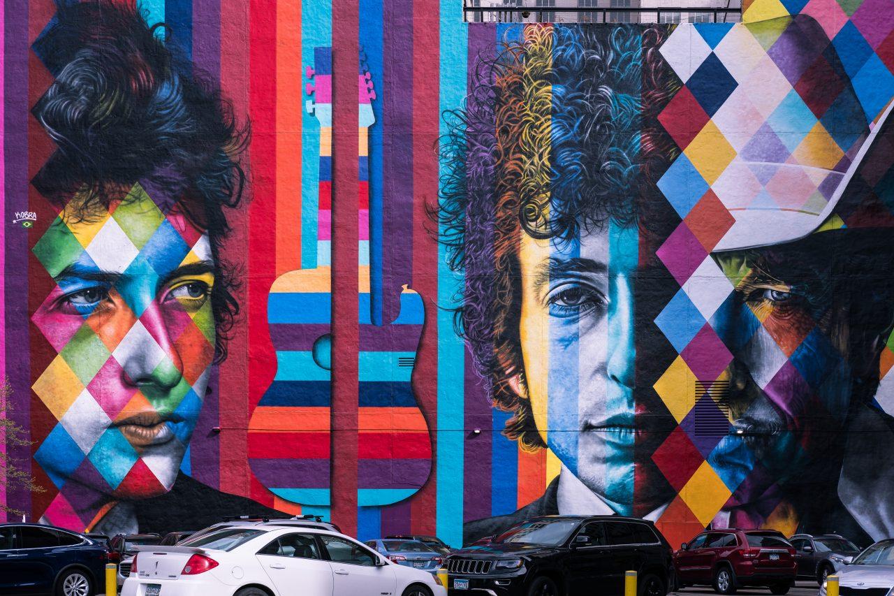 Bob Dylan-kunst i Minneapolis