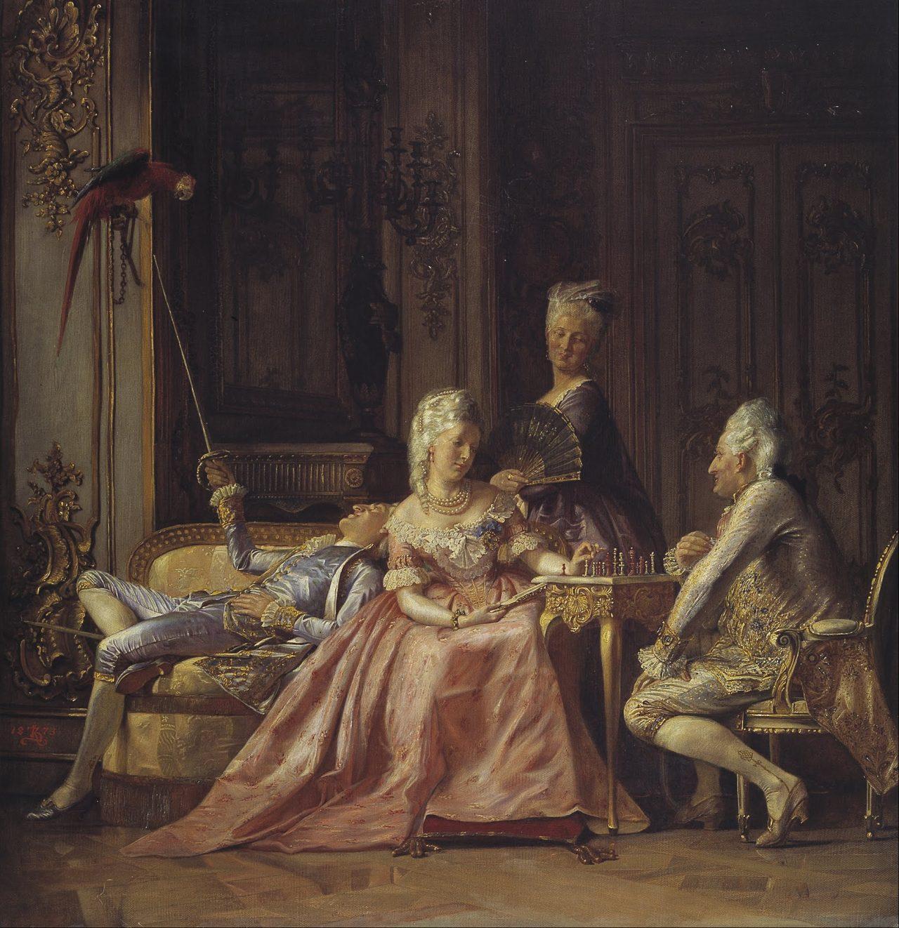 Scene fra Christian VIIs hoff av Kristian Zahrtmann (1873)