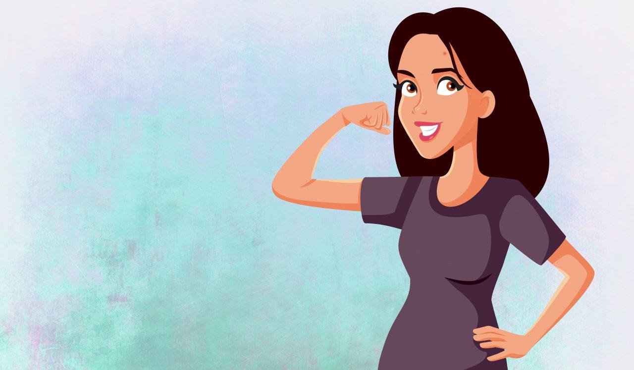 Kvinne med kvise og selvtillit