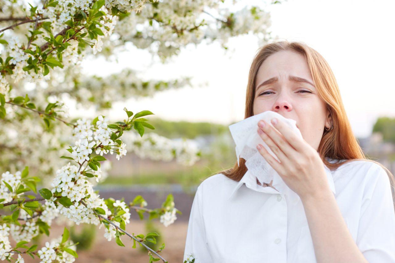 Jente som har pollenallergi og holder på å nyse