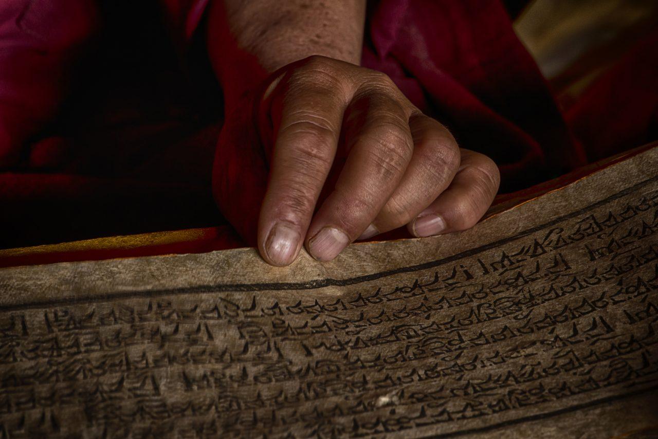 Hendene til Tibetansk munk som leser en bok