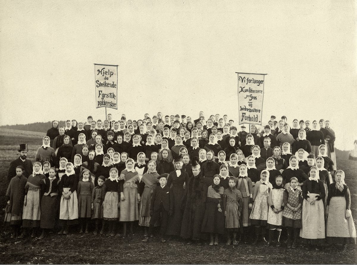 Fra fyrstikkarbeiderstreiken i oktober 1889, da jentene ved fyrstikkfabrikkene Bryn og Grønvold la ned arbeidet.