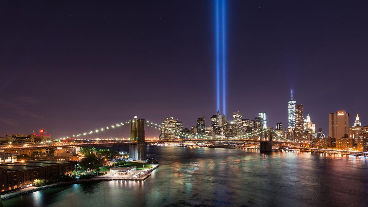 Lysinstalasjon til minne om alle som mistet livet 11 september