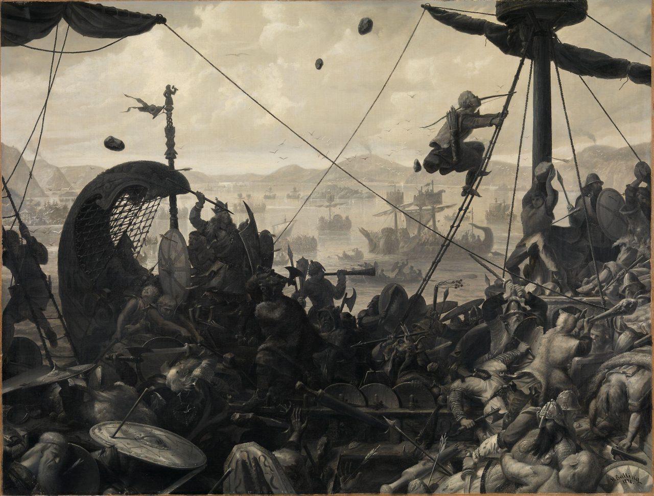 Harald Hårfagre i slaget ved Hafrsfjord. Maleri av Ole Peter Hansen Balling fra 1870