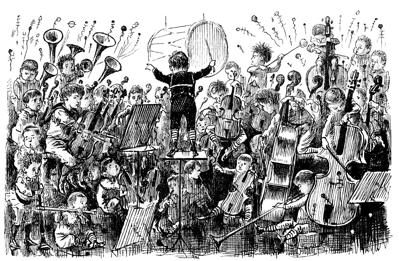 Illustrasjon av et orkester for barn