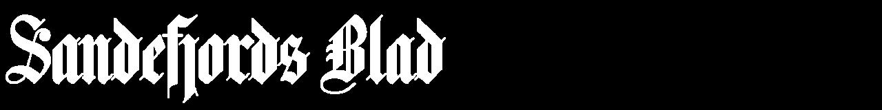 Liten, hvit Sandefjords Blad-logo