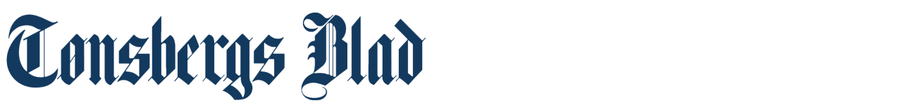 Liten, blå Tønsbergs Blad-logo